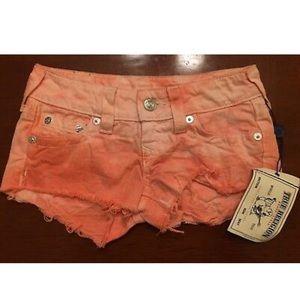 NWT True Religion Orange Tie Dye Cutoff Shorts 23